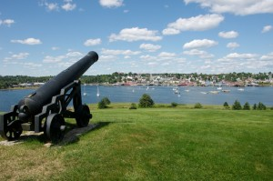 Panoramic views of the waterfront and golf course in the town of Lunenburg, a UNESCO World Heritage Site